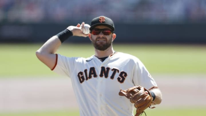 SAN FRANCISCO, CALIFORNIA - SEPTEMBER 24: Evan Longoria #10 of the San Francisco Giants looks on during the game against the Colorado Rockies at Oracle Park on September 24, 2020 in San Francisco, California. (Photo by Lachlan Cunningham/Getty Images)