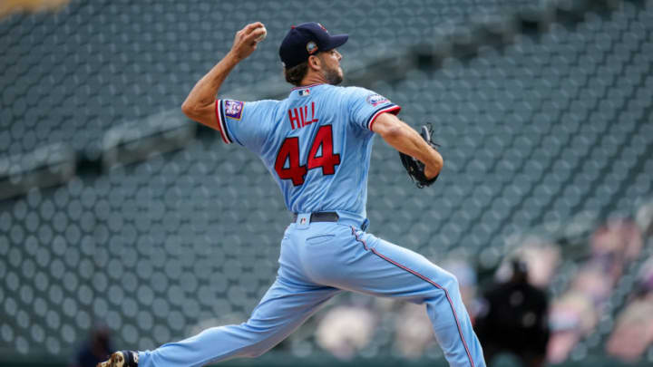 MINNEAPOLIS, MN - SEPTEMBER 27: Rich Hill #44 of the Minnesota Twins pitches against the Cincinnati Reds on September 27, 2020 at Target Field in Minneapolis, Minnesota. (Photo by Brace Hemmelgarn/Minnesota Twins/Getty Images)