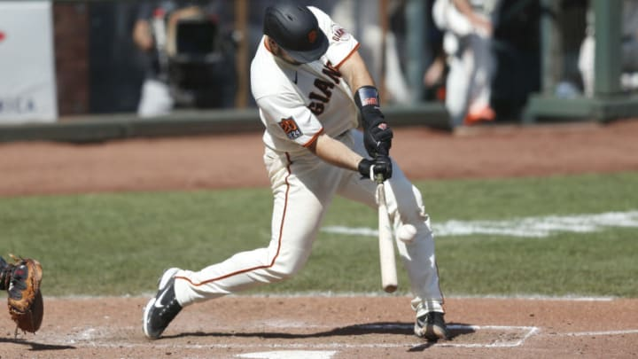 SAN FRANCISCO, CALIFORNIA - SEPTEMBER 27: Joey Bart #21 of the San Francisco Giants at bat against the San Diego Padres at Oracle Park on September 27, 2020 in San Francisco, California. (Photo by Lachlan Cunningham/Getty Images)