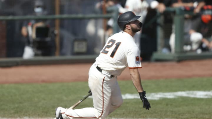 Joey Bart #21 of the SF Giants at bat against the San Diego Padres at Oracle Park on September 27, 2020. (Photo by Lachlan Cunningham/Getty Images)