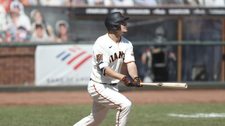 SAN FRANCISCO, CALIFORNIA - SEPTEMBER 27: Alex Dickerson #12 of the San Francisco Giants at bat against the San Diego Padres at Oracle Park on September 27, 2020 in San Francisco, California. (Photo by Lachlan Cunningham/Getty Images)