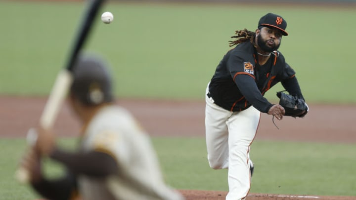 SAN FRANCISCO, CALIFORNIA - SEPTEMBER 26: Johnny Cueto #47 of the San Francisco Giants pitches against the San Diego Padres at Oracle Park on September 26, 2020 in San Francisco, California. (Photo by Lachlan Cunningham/Getty Images)