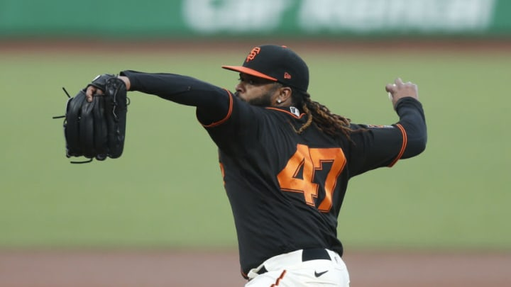 Johnny Cueto #47 of the SF Giants pitches against the San Diego Padres at Oracle Park on September 26, 2020. (Photo by Lachlan Cunningham/Getty Images)