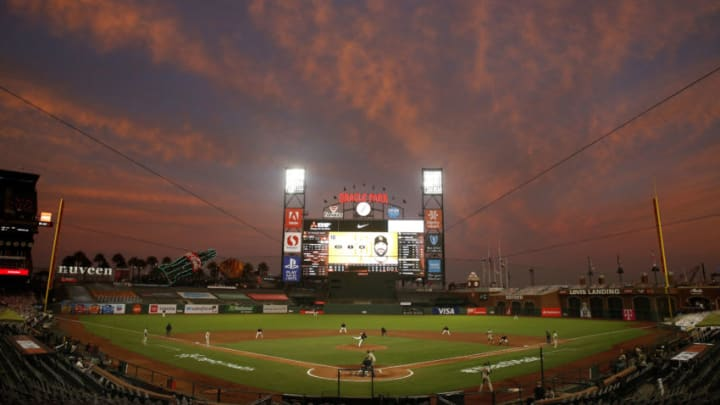 SAN FRANCISCO, CALIFORNIA - SEPTEMBER 26: A general view of play between the San Francisco Giants and the San Diego Padres as the sun sets at Oracle Park on September 26, 2020 in San Francisco, California. (Photo by Lachlan Cunningham/Getty Images)