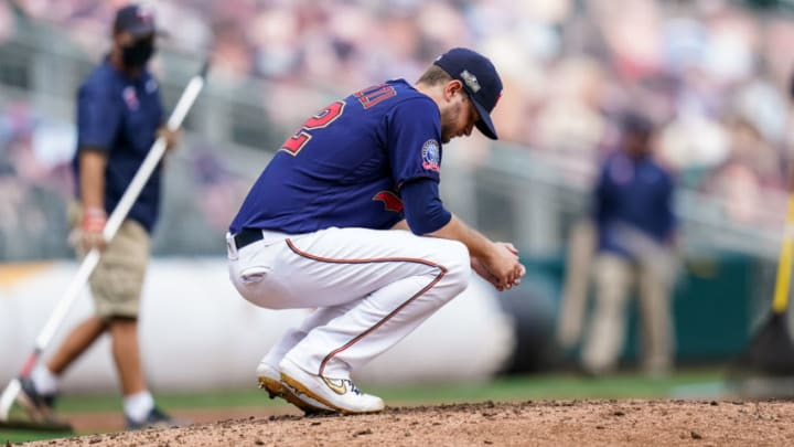 MINNEAPOLIS, MN - SEPTEMBER 30: Jake Odorizzi #12 of the Minnesota Twins looks on following game two of the Wild Card Series between the Minnesota Twins and Houston Astros on September 30, 2020 at Target Field in Minneapolis, Minnesota. (Photo by Brace Hemmelgarn/Minnesota Twins/Getty Images)