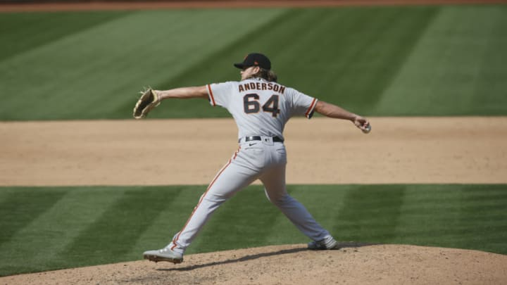 OAKLAND, CA - SEPTEMBER 20: Shaun Anderson #64 of the San Francisco Giants pitches during the game against the Oakland Athletics at RingCentral Coliseum on September 20, 2020 in Oakland, California. The Giants defeated the Athletics 14-2. (Photo by Michael Zagaris/Oakland Athletics/Getty Images)