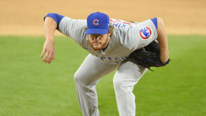 CHICAGO - SEPTEMBER 26: Craig Kimbrel #46 of the Chicago Cubs pitches against the Chicago White Sox on September 26, 2020 at Guaranteed Rate Field in Chicago, Illinois. (Photo by Ron Vesely/Getty Images)