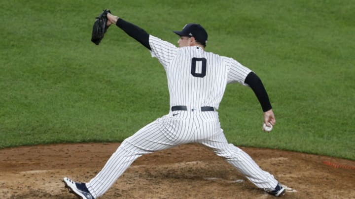 Adam Ottavino #0 of the New York Yankees in action against the Tampa Bay Rays at Yankee Stadium on September 02, 2020 in New York City. (Photo by Jim McIsaac/Getty Images)