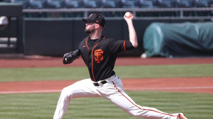 SCOTTSDALE, ARIZONA - MARCH 04: Alex Wood #57 of the San Francisco Giants delivers during the first inning of a spring training game against the Chicago White Sox at Scottsdale Stadium on March 04, 2021 in Scottsdale, Arizona. (Photo by Carmen Mandato/Getty Images)