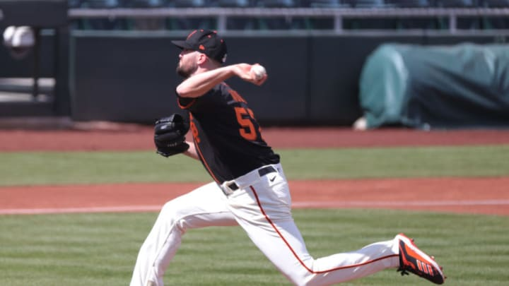 SCOTTSDALE, ARIZONA - MARCH 04: Alex Wood #57 of the SF Giants delivers during the first inning of a spring training game against the Chicago White Sox at Scottsdale Stadium on March 04, 2021 in Scottsdale, Arizona. (Photo by Carmen Mandato/Getty Images)