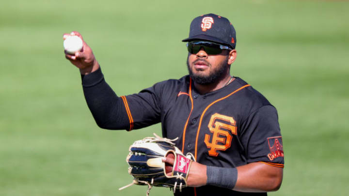 SCOTTSDALE, ARIZONA - MARCH 04: Heliot Ramos #80 of the SF Giants makes a catch during the sixth inning of a spring training game against the Chicago White Sox at Scottsdale Stadium on March 04, 2021. (Photo by Carmen Mandato/Getty Images)