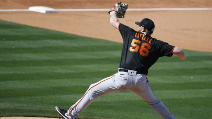 TEMPE, ARIZONA - MARCH 11: Pitcher Zack Littell #56 of the San Francisco Giants throws against the Los Angeles Angels during the fourth inning of the MLB spring training baseball game at Tempe Diablo Stadium on March 11, 2021 in Tempe, Arizona. (Photo by Ralph Freso/Getty Images)