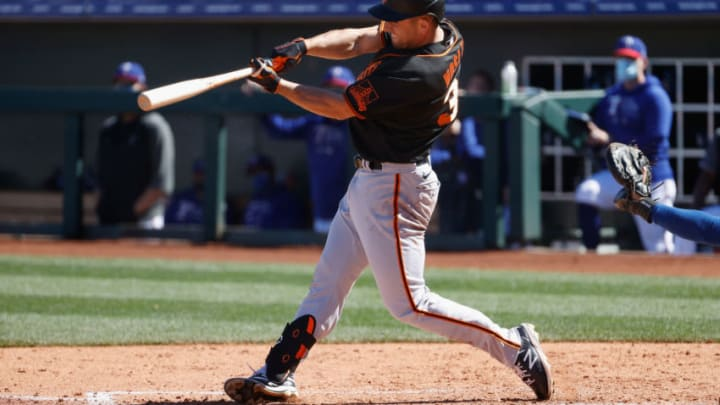 SURPRISE, ARIZONA - MARCH 01: Jason Vosler #32 of the SF Giants bats against the Texas Rangers during the MLB spring training game on March 01, 2021 in Surprise, Arizona. (Photo by Christian Petersen/Getty Images)