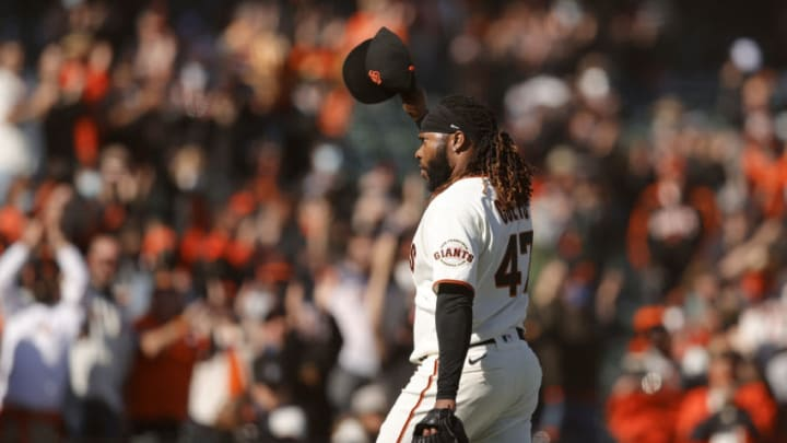 SAN FRANCISCO, CALIFORNIA - APRIL 09: Johnny Cueto #47 of the San Francisco Giants tips his hat to the crowd after he was taken out of the game in the ninth inning against the Colorado Rockies during the Giants home opener at Oracle Park on April 09, 2021 in San Francisco, California. (Photo by Ezra Shaw/Getty Images)