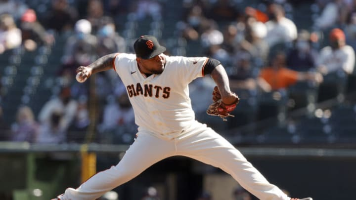 SAN FRANCISCO, CALIFORNIA - APRIL 10: Reyes Moronta #54 of the San Francisco Giants pitches against the Colorado Rockies at Oracle Park on April 10, 2021 in San Francisco, California. (Photo by Ezra Shaw/Getty Images)