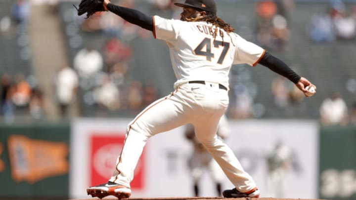 SAN FRANCISCO, CALIFORNIA - APRIL 14: Johnny Cueto #47 of the San Francisco Giants pitches against the Cincinnati Reds at Oracle Park on April 14, 2021 in San Francisco, California. (Photo by Ezra Shaw/Getty Images)