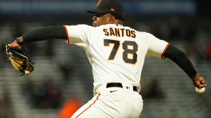 Gregory Santos #78 of the SF Giants pitches during his MLB debut during the sixth inning against the Miami Marlins at Oracle Park on April 22, 2021 in San Francisco, California. (Photo by Daniel Shirey/Getty Images)