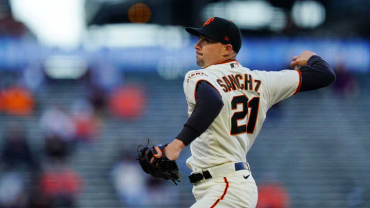 SAN FRANCISCO, CALIFORNIA - APRIL 27: Aaron Sanchez #21 of the San Francisco Giants pitches during the game against the Colorado Rockies at Oracle Park on April 27, 2021 in San Francisco, California. (Photo by Daniel Shirey/Getty Images)