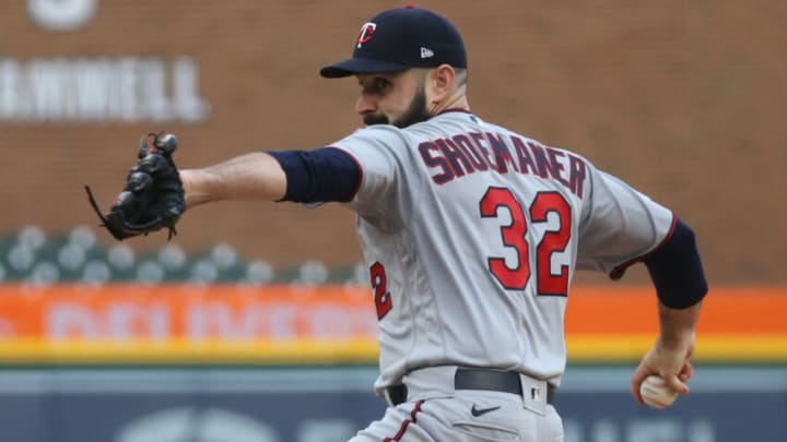 DETROIT, MICHIGAN - MAY 07: Matt Shoemaker #32 of the Minnesota Twins throws a first inning pitch against the Detroit Pistons at Comerica Park on May 07, 2021 in Detroit, Michigan. (Photo by Gregory Shamus/Getty Images)