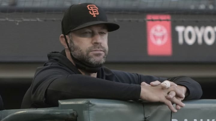 SAN FRANCISCO, CALIFORNIA - MAY 10: Manager Gabe Kapler #19 of the San Francisco Giants looks on from the dugout against the Texas Rangers in the first inning at Oracle Park on May 10, 2021 in San Francisco, California. (Photo by Thearon W. Henderson/Getty Images)