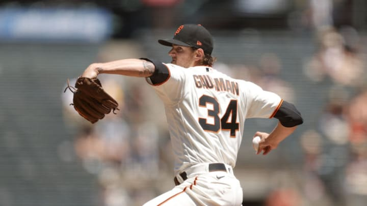 SAN FRANCISCO, CALIFORNIA - MAY 08: Kevin Gausman #34 of the SF Giants pitches against the San Diego Padres at Oracle Park on May 08, 2021 in San Francisco, California. (Photo by Ezra Shaw/Getty Images)