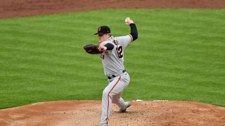 CINCINNATI, OH - MAY 17: Logan Webb #62 of the San Francisco Giants pitches against the Cincinnati Reds at Great American Ball Park on May 17, 2021 in Cincinnati, Ohio. (Photo by Jamie Sabau/Getty Images)