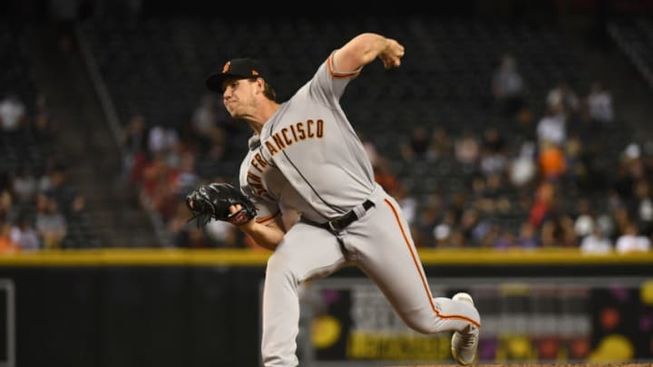 PHOENIX, ARIZONA - MAY 26: Caleb Baragar #45 of the San Francisco Giants delivers a pitch against the Arizona Diamondbacks at Chase Field on May 26, 2021 in Phoenix, Arizona. (Photo by Norm Hall/Getty Images)