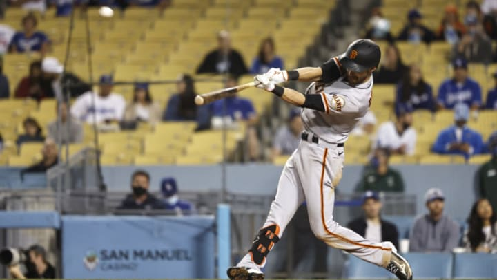 LOS ANGELES, CALIFORNIA - MAY 28: Steven Duggar #6 of the SF Giants hits a solo home run against the Los Angeles Dodgers during the fifth inning at Dodger Stadium on May 28, 2021 in Los Angeles, California. (Photo by Michael Owens/Getty Images)