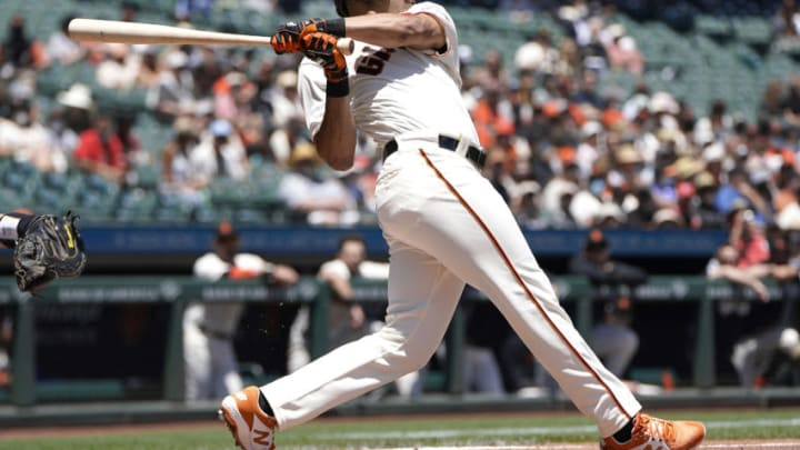 SAN FRANCISCO, CALIFORNIA - MAY 31: LaMonte Wade Jr #31 of the San Francisco Giants bats against the Los Angeles Angels in the bottom of the first inning at Oracle Park on May 31, 2021 in San Francisco, California. (Photo by Thearon W. Henderson/Getty Images)
