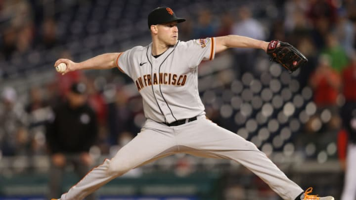 WASHINGTON, DC - JUNE 11: Starting pitcher Anthony DeSclafani #26 of the San Francisco Giants works the ninth inning against the Washington Nationals at Nationals Park on June 11, 2021 in Washington, DC. (Photo by Patrick Smith/Getty Images)
