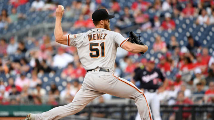 WASHINGTON, DC - JUNE 12: Conner Menez #51 of the San Francisco Giants pitches against the Washington Nationals during game two of a doubleheader at Nationals Park on June 12, 2021 in Washington, DC. (Photo by Will Newton/Getty Images)