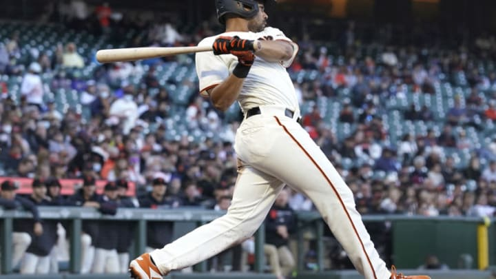 SAN FRANCISCO, CALIFORNIA - JUNE 14: LaMonte Wade Jr #31 of the San Francisco Giants bats against the Arizona Diamondbacks in the bottom of the second inning at Oracle Park on June 14, 2021 in San Francisco, California. (Photo by Thearon W. Henderson/Getty Images)