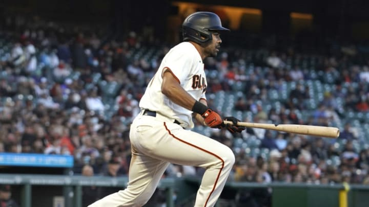 SAN FRANCISCO, CALIFORNIA - JUNE 14: LaMonte Wade Jr #31 of the San Francisco Giants bats against the Arizona Diamondbacks in the bottom of the fourth inning at Oracle Park on June 14, 2021 in San Francisco, California. (Photo by Thearon W. Henderson/Getty Images)