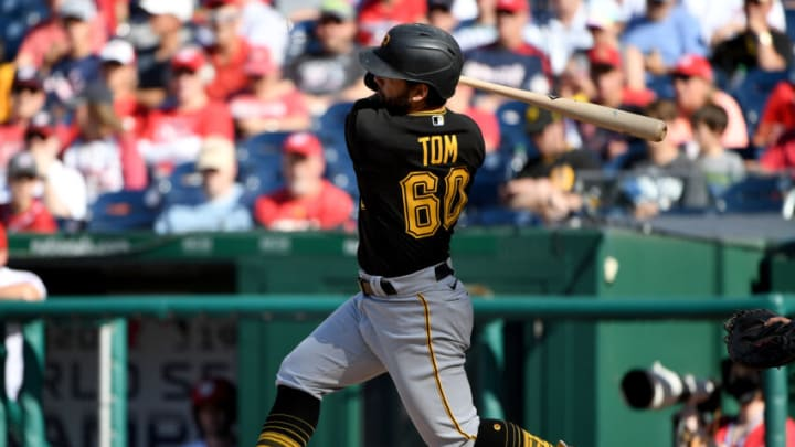 WASHINGTON, DC - JUNE 16: Ka'ai Tom #60 of the Pittsburgh Pirates at bat against the Washington Nationals at Nationals Park on June 16, 2021 in Washington, DC. (Photo by Will Newton/Getty Images)