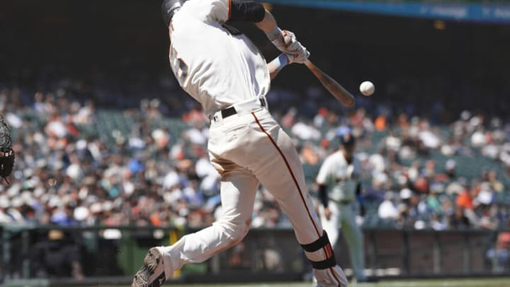SAN FRANCISCO, CALIFORNIA - JUNE 20: Steven Duggar #6 of the San Francisco Giants bats against the Philadelphia Phillies in the bottom of the seventh inning at Oracle Park on June 20, 2021 in San Francisco, California. (Photo by Thearon W. Henderson/Getty Images)