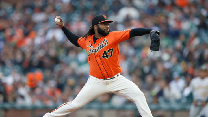 SAN FRANCISCO, CALIFORNIA - JUNE 25: Johnny Cueto #47 of the SF Giants pitches in the top of the second inning against the Oakland Athletics at Oracle Park on June 25, 2021 in San Francisco, California. (Photo by Lachlan Cunningham/Getty Images)