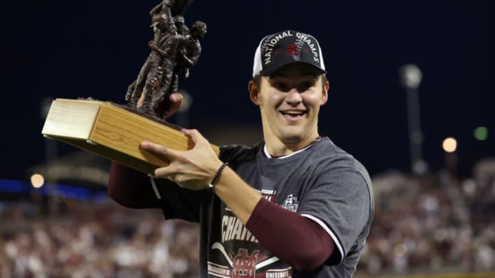 OMAHA, NEBRASKA - JUNE 30: Will Bednar #24 of the Mississippi St. celebrates after being named series MVP after Mississippi St. beat Vanderbilt 9-0 during game three of the College World Series Championship at TD Ameritrade Park Omaha on June 30, 2021 in Omaha, Nebraska. (Photo by Sean M. Haffey/Getty Images)