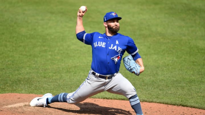 BALTIMORE, MARYLAND - JUNE 20: Tyler Chatwood #34 of the Toronto Blue Jays pitches against the Baltimore Orioles at Oriole Park at Camden Yards on June 20, 2021. The SF Giants signed Chatwood this week. (Photo by G Fiume/Getty Images)