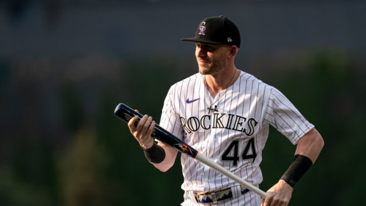 DENVER, COLORADO - JULY 12: Trevor Story #27 of the Colorado Rockies (wearing #44 in honor of Hank Aaron) reacts on stage for the 2021 T-Mobile Home Run Derby at Coors Field on July 12, 2021 in Denver, Colorado. (Photo by Matt Dirksen/Colorado Rockies/Getty Images)