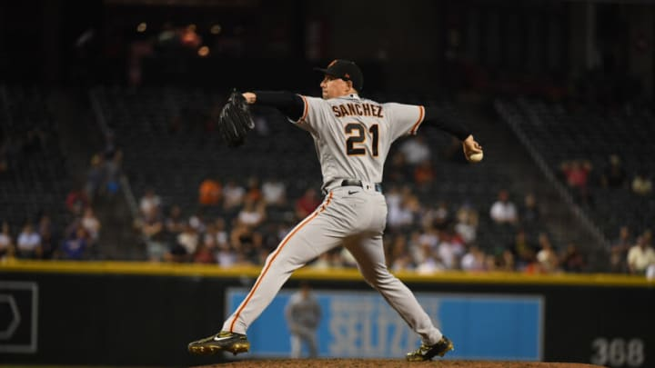 PHOENIX, ARIZONA - AUGUST 03: Aaron Sanchez #21 of the San Francisco Giants delivers a pitch against the Arizona Diamondbacks at Chase Field on August 03, 2021 in Phoenix, Arizona. (Photo by Norm Hall/Getty Images)