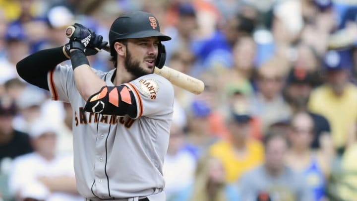 Kris Bryant #23 of the SF Giants bats against the Milwaukee Brewers in the seventh inning at American Family Field on August 08, 2021 in Milwaukee, Wisconsin. (Photo by Patrick McDermott/Getty Images)