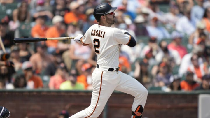 SAN FRANCISCO, CALIFORNIA - AUGUST 15: Curt Casali #2 of the San Francisco Giants bats against the Colorado Rockies in the bottom of the fifth inning at Oracle Park on August 15, 2021 in San Francisco, California. (Photo by Thearon W. Henderson/Getty Images)