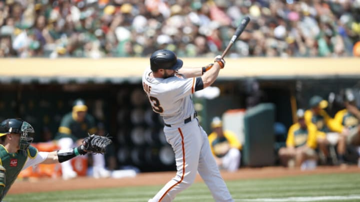 OAKLAND, CA - AUGUST 21: Darin Ruf #33 of the San Francisco Giants bats during the game against the Oakland Athletics at RingCentral Coliseum on August 21, 2021 in Oakland, California. The Giants defeated the Athletics 6-5. (Photo by Michael Zagaris/Oakland Athletics/Getty Images)