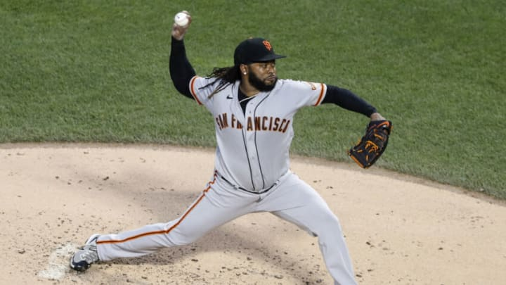 NEW YORK, NEW YORK - AUGUST 25: Johnny Cueto #47 of the San Francisco Giants in action against the New York Mets at Citi Field on August 25, 2021 in New York City. The Giants defeated the Mets 3-2. (Photo by Jim McIsaac/Getty Images)