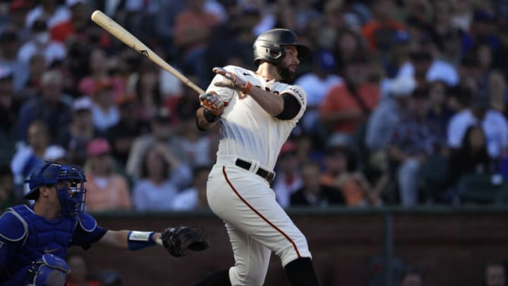 SAN FRANCISCO, CALIFORNIA - SEPTEMBER 05: Brandon Belt #9 of the San Francisco Giants bats against the Los Angeles Dodgers in the bottom of the second inning at Oracle Park on September 05, 2021 in San Francisco, California. (Photo by Thearon W. Henderson/Getty Images)