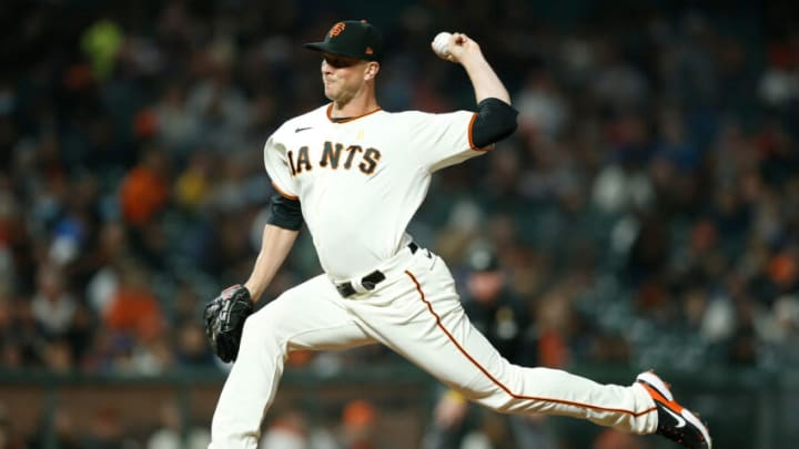 SAN FRANCISCO, CALIFORNIA - SEPTEMBER 01: Tony Watson #56 of the San Francisco Giants pitches against the Milwaukee Brewers at Oracle Park on September 01, 2021 in San Francisco, California. (Photo by Lachlan Cunningham/Getty Images)