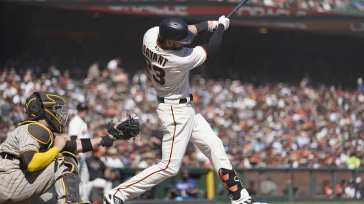 SAN FRANCISCO, CALIFORNIA - OCTOBER 02: Kris Bryant #23 of the San Francisco Giants hits an RBI single scoring Brandon Crawford #35 against the San Diego Padres in the bottom of the second inning at Oracle Park on October 02, 2021 in San Francisco, California. (Photo by Thearon W. Henderson/Getty Images)