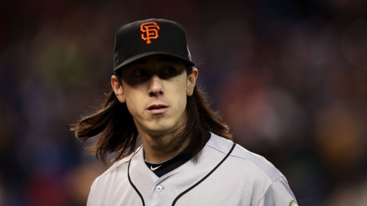 DETROIT, MI - OCTOBER 27: Tim Lincecum #55 of the San Francisco Giants walks to the dugout after striking out swining Andy Dirks #12 of the Detroit Tigers to end the eighth inning during Game Three of the Major League Baseball World Series at Comerica Park on October 27, 2012 in Detroit, Michigan. (Photo by Ezra Shaw/Getty Images)