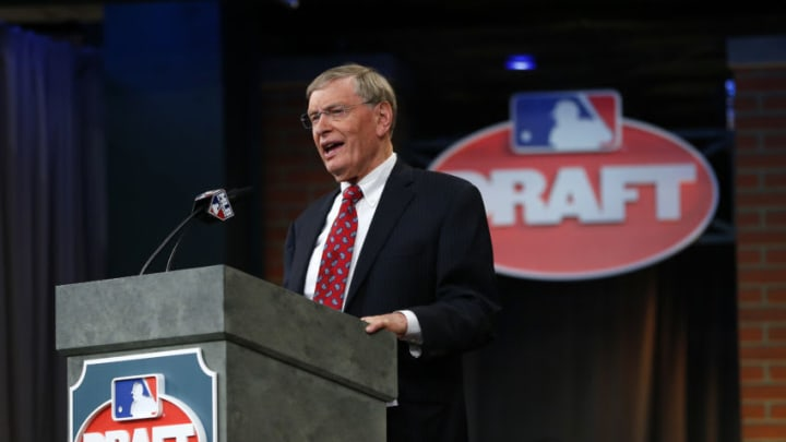 SECAUCUS, NJ - JUNE 5: Commissioner Allan H. Bud Selig at the podium during the MLB First-Year Player Draft at the MLB Network Studio on June 5, 2014 in Secacucus, New Jersey. (Photo by Rich Schultz/Getty Images)
