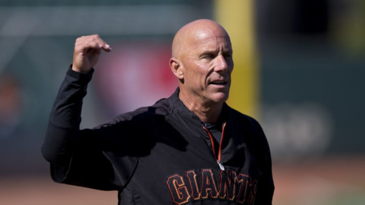 SF Giants coach Tim Flannery watches batting practice before a game in 2014. (Photo by Jason O. Watson/Getty Images)
